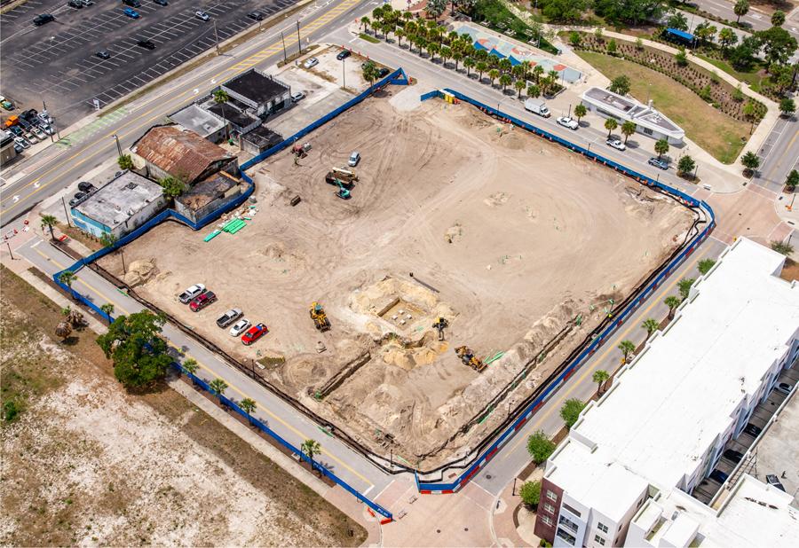 aerial view of open construction site of The Independent