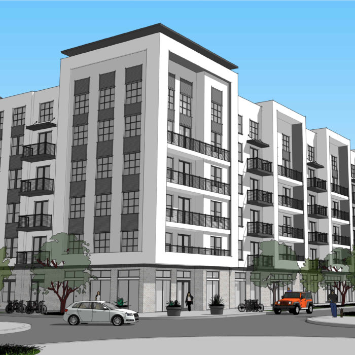 Rendering drawing of apartment building