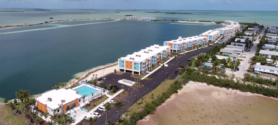 Aerial view of The Quarry apartment buildings in the Florida Keys