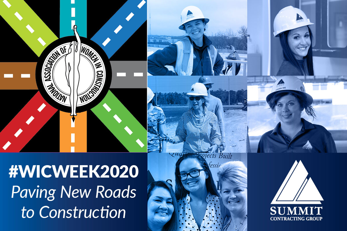 """Photo collage of women in construction with logos for Summit and National Association of Women in Construction, """"Paving New Roads to Construction"""""""