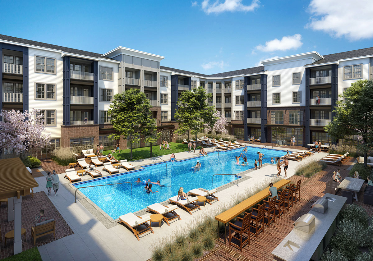 Rendering of The Louis Chamberlain Apartments Pool