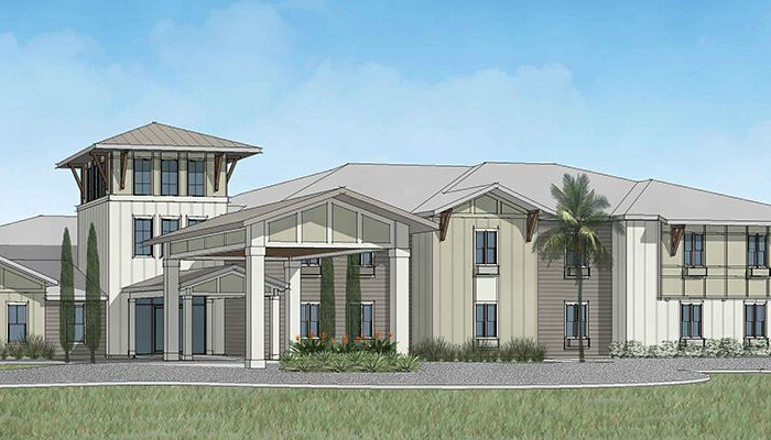 Rendering of assisted living facility The Canopy at Walden Woods with palm trees