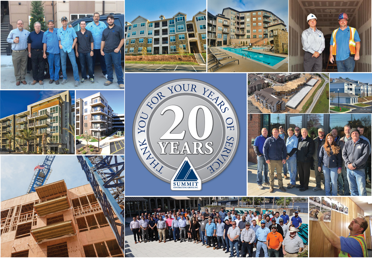 Collage photo of Summit logo and apartment buildings and groups of people