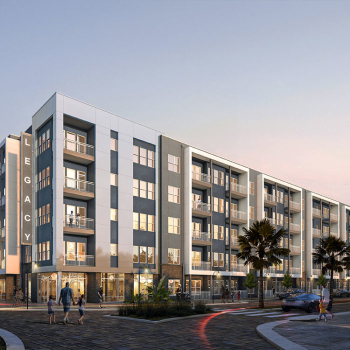 Architect's Rendering of Legacy at Encore 5 Story Apartment Building