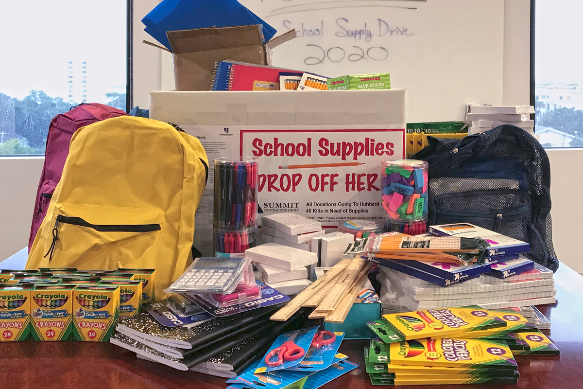 school supplies collected by Summit Contracting Group employees