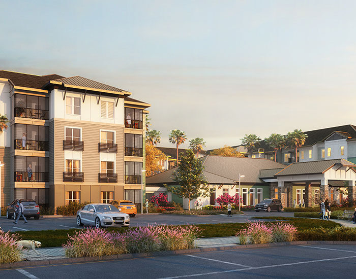 architect rendering of Sienna Pointe apartment building