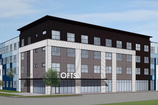 rendering of 4 story apartment building