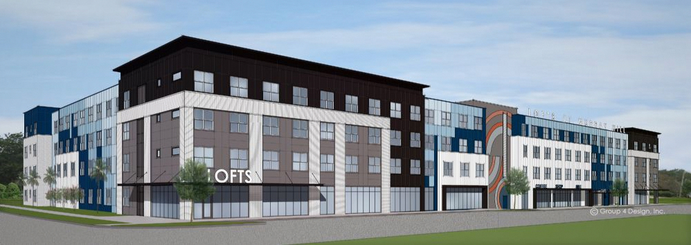 full side view rendering of lofts at murray hill apartments
