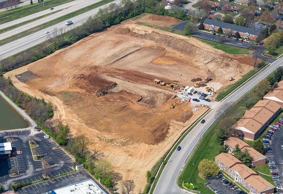 aerial view of construction site showing site work