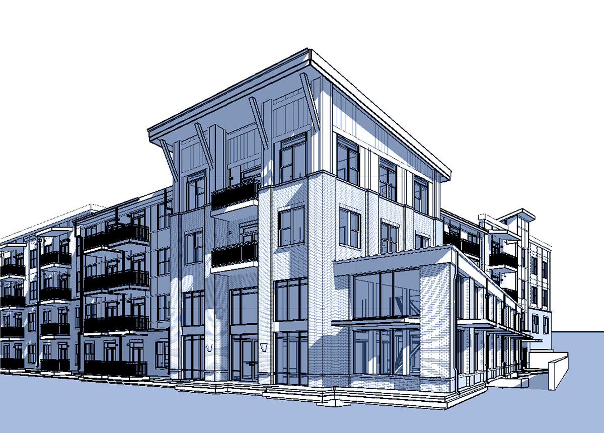 perspective rendering of front of Berry Hill Apartments
