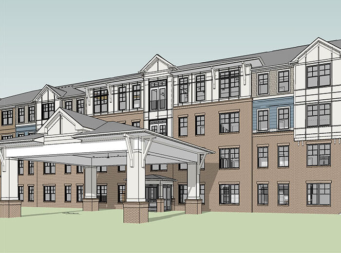 rendering of Sylvan Hills Senior apartment building