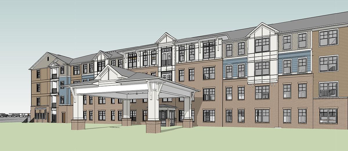 rendering of Sylvan Hills Senior apartment building
