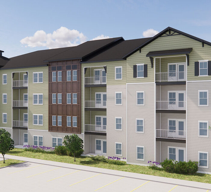 rendering of The Avery apartment building