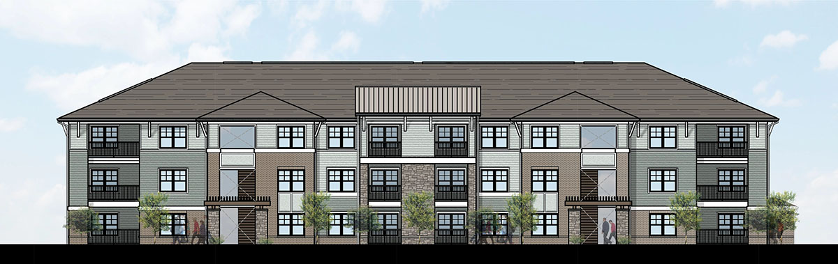 rendering of 3 story apartment building