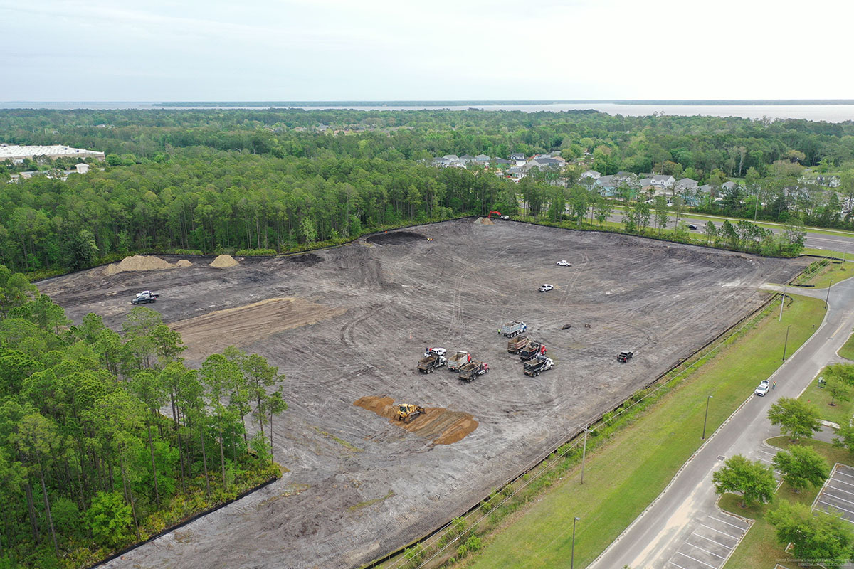 aerial view of construction site in Fleming Island, FL