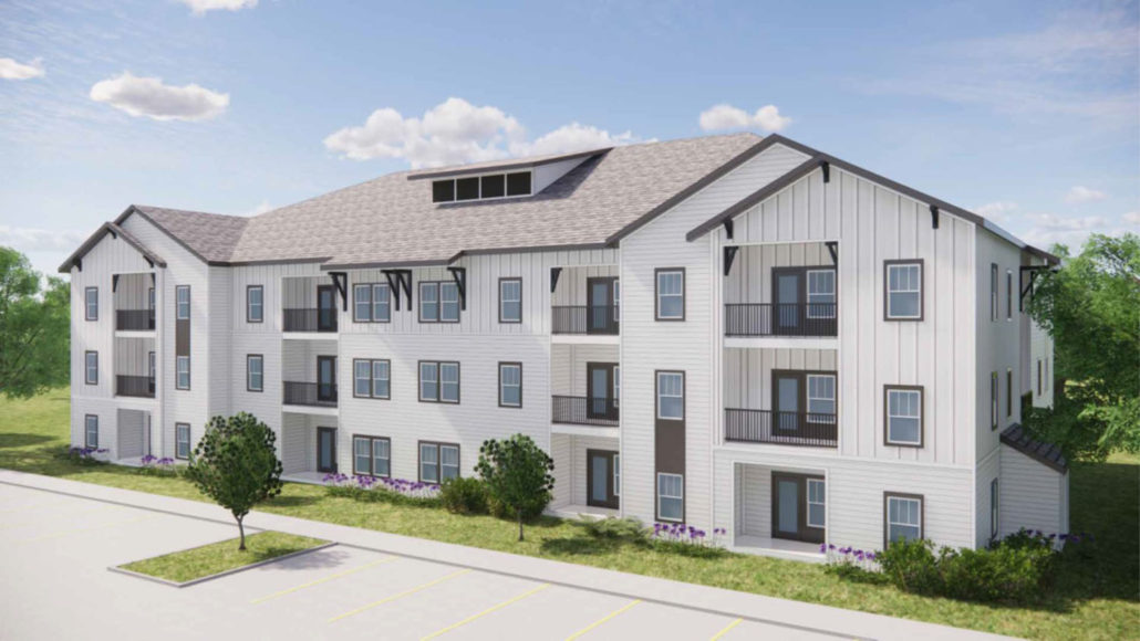 architect's rendering of 3 story apartment building