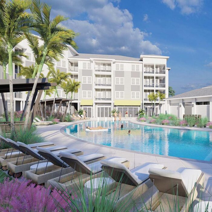 architects rendering of pool and 4 story apartment building