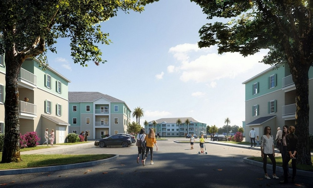 Architect's rendering of apartment community with trees and 3-story buildings
