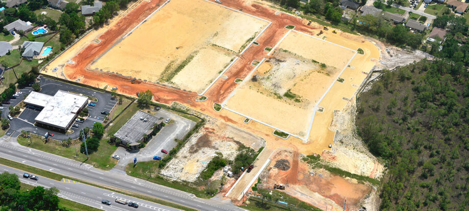 aerial view of construction site work